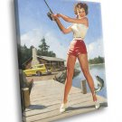 Hot Pin Up Girl Fishing Painting Art 50x40 Framed Canvas Print