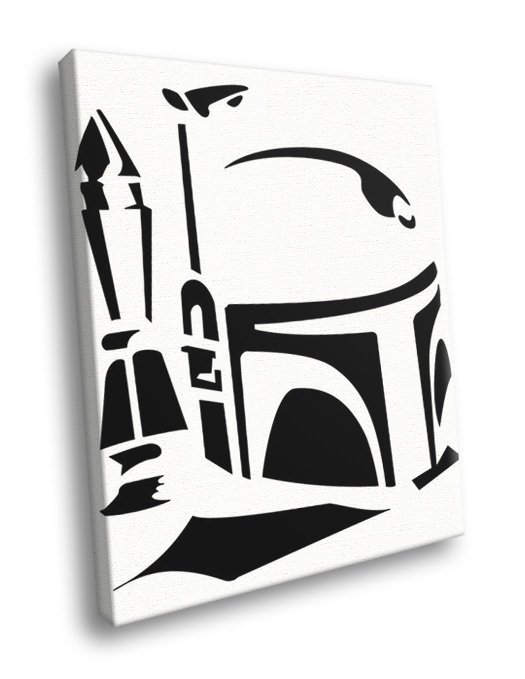 Jango Fett Stencil Artwork Black White Star Wars 50x40 Framed Canvas Print