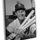 Stan Musial St Louis Cardinals Retro BW Baseball 50x40 Framed Canvas Print
