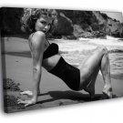 Eva Herzigova Hot Model Sexy Body Beach BW 50x40 Framed Canvas Print