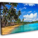 Paradise Palms Sea Beautiful Tropical Beach 50x40 Framed Canvas Print