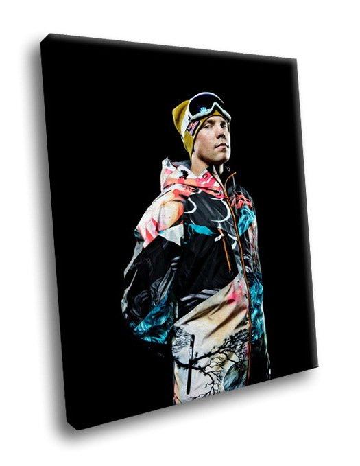 Travis Rice American Snowboarder 50x40 Framed Canvas Art Print