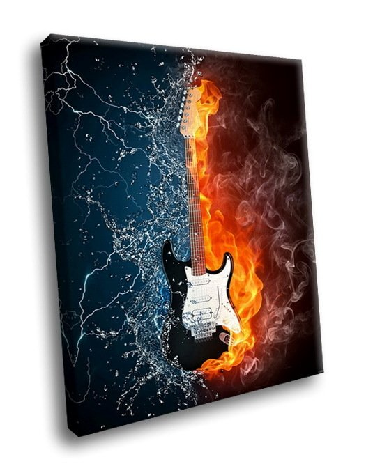 Guitar Flame Fantasy 50x40 Framed Canvas Art Print
