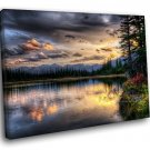 Pink Sunset Scenery River Cloudy Sky 50x40 Framed Canvas Art Print