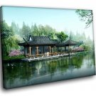 Japan Scenery River Architecture 50x40 Framed Canvas Art Print