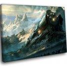 Fantasy Ols Train Speed Snow Peaks Mountains 50x40 Framed Canvas Art Print