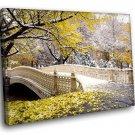 New York Central Park Early Snow 50x40 Framed Canvas Art Print