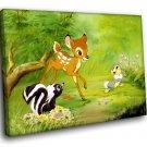 Bambi Cartoon Animation Deer With Friends 50x40 Framed Canvas Art Print