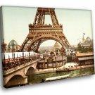 Eiffel Tower Paris France Seine River 50x40 Framed Canvas Art Print