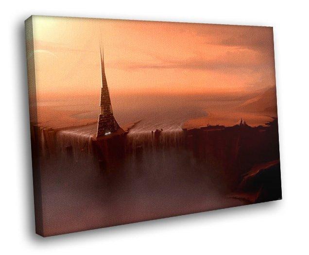 Fantasy Castle Waterfall Pink Sunset 50x40 Framed Canvas Art Print