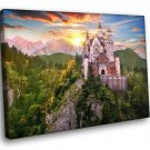 Fantasy Castle Rocks Mountains Sunrise Clouds 50x40 Framed Canvas Art Print