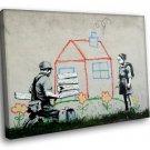 Banksy Graffiti Street Art Kid House Peace 50x40 Framed Canvas Art Print