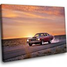 Plymouth Retro Auto Fast Sunset Road Car 50x40 Framed Canvas Art Print