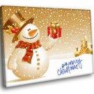 Merry Christmas Snowman Atr 50x40 Framed Canvas Art Print