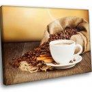 Cup Of Coffee Coffee Beans Cinnamon 50x40 Framed Canvas Art Print