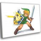 The Legend Of Zelda Link Shield Sword Art 40x30 Framed Canvas Print