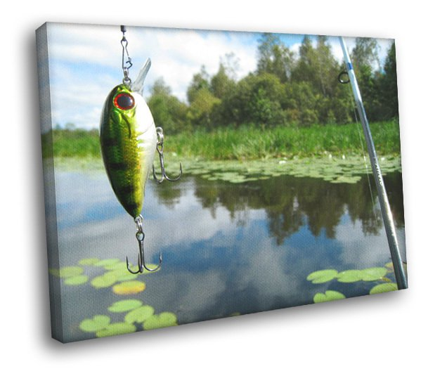 Fishing Rod Lure Pole Bait Lake Hook Nature 40x30 Framed Canvas Print