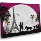 Love Couple France Paris Eiffel Tower Design Art 40x30 Framed Canvas Print