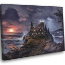 Lighthouse Cove Night Landscape Storm Painting Art 40x30 Framed Canvas Print