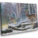 Snow Forest Deers Animal Landscape Oil Painting 40x30 Framed Canvas Print