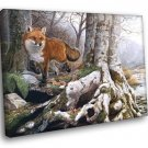 Fox Animal Nature Landscape Lake Artwork Painting 40x30 Framed Canvas Print