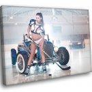 Ice Hockey Hot Sexy Babe Woman Car Miss Tuning 40x30 Framed Canvas Print
