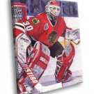 Ed Belfour Chicago Blackhawks Goaltender Painting 40x30 Framed Canvas Print