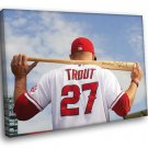 Mike Trout Los Angeles Angels Of Anaheim Baseball 40x30 Framed Canvas Print