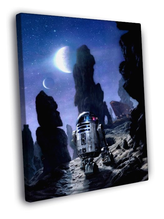 R2 D2 Tatooine Jawas Sandcrawler Star Wars Art 40x30 Framed Canvas Print