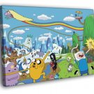Adventure Time Cartoon All Characters Cool Art 40x30 Framed Canvas Print