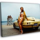 Ashanti Yellow Car Beach R B Hip Hop Music 40x30 Framed Canvas Print