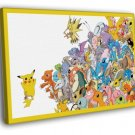 All Pokemon Pikachu Anime Characters Amazing 40x30 Framed Canvas Print