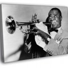 Louis Armstrong Trumpet Retro BW Jazz Music 40x30 Framed Canvas Print
