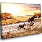 Africa Savanna Wild Animals Zebras Elephant 40x30 Framed Canvas Art Print