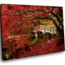Japan The Kyoto Garden Red Leaves 40x30 Framed Canvas Art Print