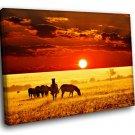 Africa Savanna Sunset Wild Animals Zebras 40x30 Framed Canvas Art Print