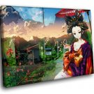 Japanese Beauty Geisha Traditional Clothes 40x30 Framed Canvas Art Print