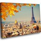 France Paris Eiffel Tower Autumn 40x30 Framed Canvas Art Print