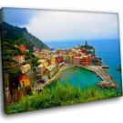 Italy Sinque Tere Landscape Marine 40x30 Framed Canvas Art Print