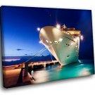 Cruise Liner Passenger Ship Dock Night 40x30 Framed Canvas Art Print