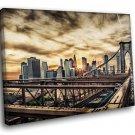 New York City Brooklyn Bridge Suspension Bridge 40x30 Framed Canvas Art Print