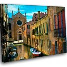 Italy Venice Channel Boats 40x30 Framed Canvas Art Print