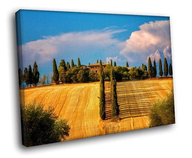 Italy Tuscany Fields Landscape 40x30 Framed Canvas Art Print
