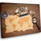 Old World Map Sailboat Compass 40x30 Framed Canvas Art Print