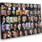 US Presidents List Portraits Chart 40x30 Framed Canvas Art Print