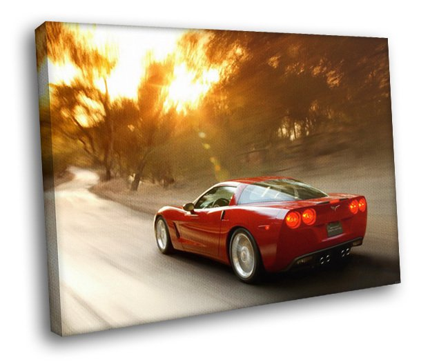 Chevrolet Corvette Chevy Sport Car 40x30 Framed Canvas Art Print