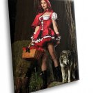 Red Riding Hood Sexy Girl Role Games Wolf Fishnets 40x30 Framed Canvas Art Print