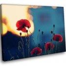 Red Poppies Flower Field Lights Home D Cor 40x30 Framed Canvas Art Print