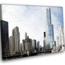 Chicago The City Center Skyscrapers Bridge Clouds 40x30 Framed Canvas Art Print