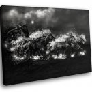 Horses Night Moon Clouds Black White Art 40x30 Framed Canvas Art Print